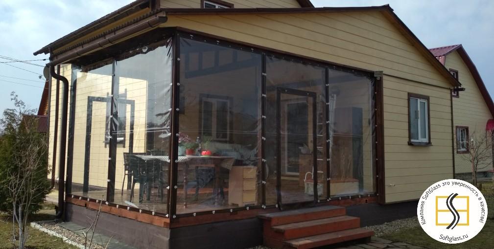 Мягкие окна с коричневым кантом в 7 см на веранду